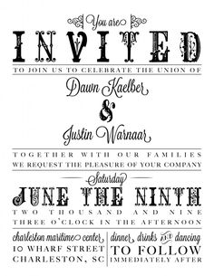 Wedding Invite Design (c) 2013 CreativeTypeDesigns.com  This is kind of fun!