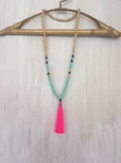 Mint  Neon Pink Beaded Tassel Necklace  by BohemianTreasureSHOP