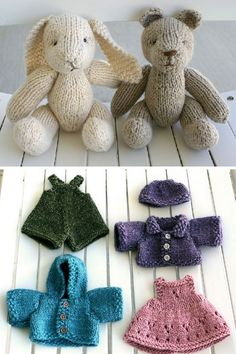 Baby Knitting Patterns Animals Rabbit and Bear with clothes – free pattern by April Cromwell. Scroll down for … Baby Knitting Patterns, Knitting For Kids, Free Knitting, Knitting Projects, Crochet Projects, Knitting Toys, Knitting Ideas, Knitted Doll Patterns, Yarn Crafts
