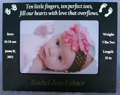 baby picture frame new born metal picture frame personalized, all information laser engraved