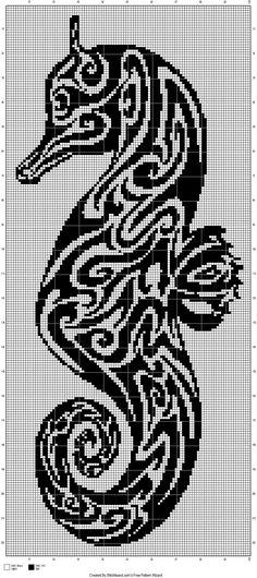 seahorse tribal cross stitch pattern