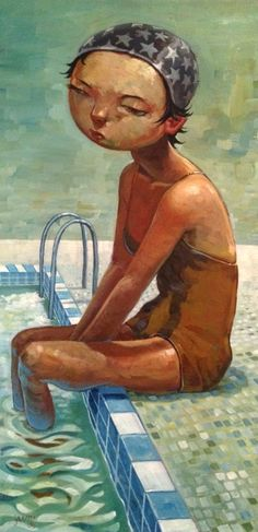 Poolside - oil on canvas - Aaron Jasinski - Seattle, WA - http://jasinskiart.tumblr.com/tagged/painting