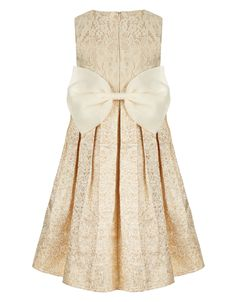 She'll be the belle of the ball in our Enola dress for girls, crafted with a fitted cream lace bodice with delicate flower appliqués, and a full, pleated pale pink skirt that's ideal for dance floor twirls. This pretty piece is cinched with a wide waistband and a 3D corsage, and finished with an oversized bow on the reverse. Features a back keyhole button detail and a side zip fastening.