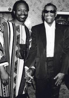 Ray Charles, backstage with jazz promoter Rouè-Doudou Boiçel at FestiJazz, Place des Arts (Montreal, 1978).