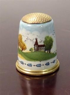 Beautiful Halcyon Days Bilston Battersea Scenic Enamel Thimble | eBay