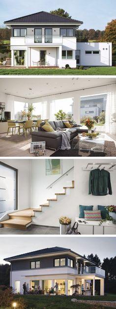 Stadtvilla modern mit Walmdach Architektur und Flachdach Anbau - Haus Ideen City Life 700 WeberHaus Fertighaus - HausbauDirekt.de
