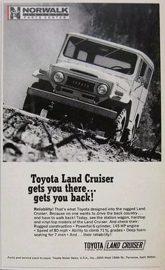 Magazine ad for 1969 Toyota Land Cruiser Toyota Fj40, Magazine Ads, Oem Parts, Station Wagon, Print Ads, Toyota Land Cruiser, Cars, Classic, Vintage