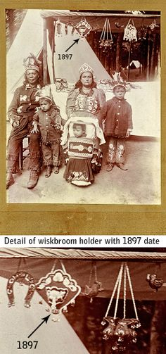 Photograph of Haudenosaunee family selling their beadwork, dated 1897, (Historic Iroquois and Wabanaki Beadwork: Iroquois Beadwork in Old Photographs). Look at the fantastic urn beadwork!  I wish we knew their names and the location!