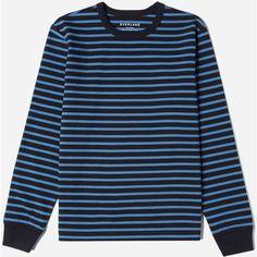 Everlane Men's Breton Striped Pullover T-Shirt ($45) ❤ liked on Polyvore featuring men's fashion, men's clothing, men's shirts, men's t-shirts, mens long sleeve cotton shirts, mens pullover, mens breton shirt, mens long sleeve cotton t shirts and mens blue shirt