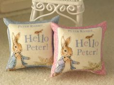 Pillows miniature made by me, cotton, printed with Peter Rabbit size: 3.5 x 3.5 cm ideal for furnishing the nursery or to shop for the infancy- 1/12 scale. You can choose from these colors you see in the picture: pink or pale blue the price is for one pillow
