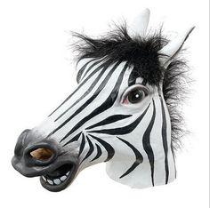 Divertida de Halloween máscara de látex realista cabeza de caballo/Interesante divertido partido de la mascarada máscaras de silicona cara máscara De Cebra