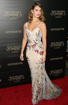 Lily James Wearing Floral Alexander McQueen Dress   Pride and Prejudice and Zombies premiere 2016
