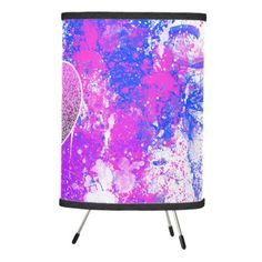 Pink Purple paint Splash | Glitter Heart Monogram Tripod Lamp!