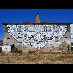 Mural by Nespoon in Fundão, Portugal x @wool_urbanartfestival 5/11/15