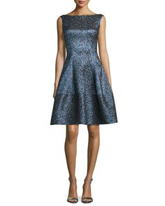 Golo+Iridescent+Fit-and-Flare+Dress,+Navy+by+Talbot+Runhof+at+Bergdorf+Goodman.