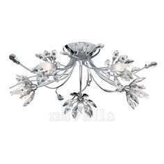 Searchlight Hibiscus 5 Light Ceiling Light in chrome and crystal - Low Ceiling Lighting, Semi Flush Ceiling Lights, Flush Lighting, Ceiling Lamp, Just Giving, Elegant, Hibiscus, Chrome, Chandelier
