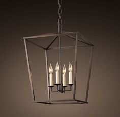 gaslight with glass panes omitted (no dust!) for unobstructed  light. Restoration hardware