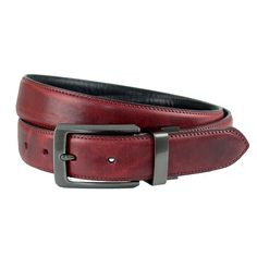 The British Belt Company Made in Britain Benscliffe leather reversible oxblood & black belt