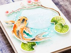 The Hero Arts 2017 catalog has a lovely new Color Layering Koi set. I decided to try something a little different and watercolor the koi.