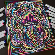 Trippy Drawings, Psychedelic Drawings, Art Drawings, Trippy Painting, Hippie Painting, Pintura Hippie, Mandala Tattoo Design, Psychadelic Art, Acid Art