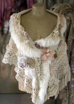 Blanche bohemian shabby chic shrug or cape with brooch