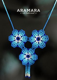 Mexican Huichol Beaded Blue Flower Necklace by Aramara Diy Necklace Patterns, Crochet Necklace Pattern, Beaded Jewelry Designs, Handmade Jewelry, Jewelry Party, Jewelry Crafts, Beaded Earrings, Beaded Bracelets, Mexican Jewelry