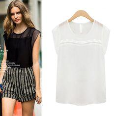 New 2015 Plus Size Camisas Women Lace Net yarn Chiffon Blouses Tops Gorgeous Short Sleeve black