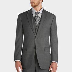 Jones New York Gray Sharkskin Modern Fit Vested Suit - Men's Wearhouse.