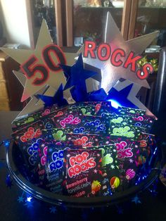 50 Rocks!!!  Made this for my man's birthday and it was a huge hit...I didn't even get a pack of Pop Rocks.  Lol