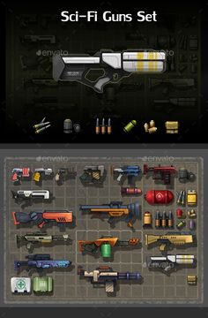 Buy Sci-Fi Guns Set by REXARD on GraphicRiver. A set of 15 sci-fi guns and 14 ammunition parts. 15 unique guns in total. 14 unique ammunition parts. All guns and am. Sci Fi Armor, Sci Fi Weapons, Weapon Concept Art, Game Concept, Anime Weapons, Game Design, Robot Design, Pixel Art, Sci Fi Games