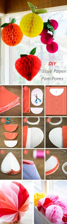 DIY-Tissue-Paper-Pom-Poms-Wedding-hanging-decoration-tutorial1.jpg (600×2000)