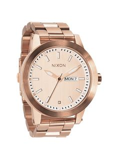 The Spur in Rose Gold ($300) by Nixon.   From: http://www.nixonnow.com/watches/womens/the-spur-A263.html
