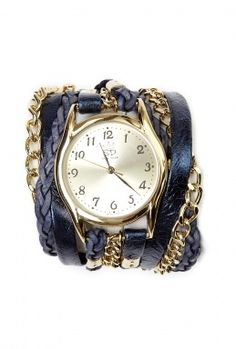 Love it!!!    Navy Chain and Metallic Leather Wrap Watch by Sara Designs