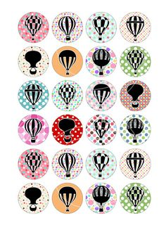 Polka Dots Hot Air Balloons Printable Images for 1 inch Buttons, Bottle cap making, Resin Pendants, Glass Pendants, Magnets, Scrapbooking and other craft projects. ■ Collage Sheet size 8.5x11 - A4 High Quality 300 dpi JPG ■ You will receive these Circle Images in 1.5 inch, 1.313
