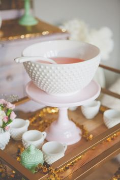 Milk glass punch bowl and cups