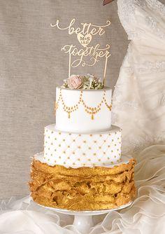 Better together Wedding cake topper #wedding #weddingideas #caketopper #glam #gold