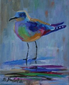 SEAGULL OVER-DRESSED FOR THE PARTY, painting by artist Elizabeth Blaylock