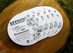 Source for cute round business cards and several others. Custom Letterpress Business Card and Graphic Design Package - 100qty. $225.00, via Etsy.