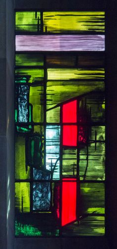 https://flic.kr/p/MkzEB1 | Coventry Cathedral, Baptistery window  detail |  It consists of 195 individual stained glass panels, and was designed by John Piper and painted by Patrick Reyntiens. Although abstract, some say it represents the spiritual renewal of Baptism and a reminder of the explosive destruction of the old Cathedral. Each panel was pained by Reyntiens.  Pic by Jenny.