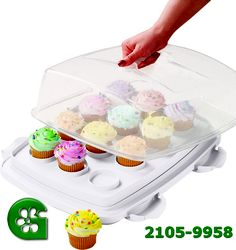 It's the most convenient way to take along cakes, cupcakes, muffins and more! The Ultimate Cake Caddy features an exclusive reversible cupcake tray which holds 12 standard or 24 mini cupcakes. Or, remove the tray to carry up to Wilton Cake Decorating, Cake Decorating Supplies, Baking Supplies, Decorating Tools, Kitchen Supplies, Baking Tools, Kitchen Tools, Cupcake Tray, Cupcake Cakes