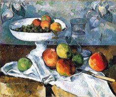 Compotier, verre et pommes - 1880 L'Impressionnisme - Tableau- Paul Cézanne