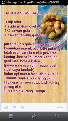 Bahulu versi baru Biscuit Cookies, Biscuit Recipe, Cake Cookies, Malaysian Dessert, Malaysian Food, Cookie Recipes, Dessert Recipes, Desserts, Mochi Cake