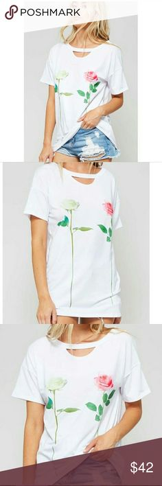 NEW FLORAL ROSE CHOKER STYLE TOP New Floral Rose CHOKER STYLE Short Sleeve Top. This top features a choker neckline and is longer than a standard t-shirt. Feminine and on trend. Beautiful Tops Tees - Short Sleeve