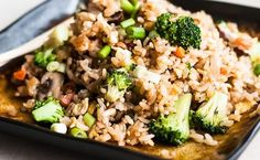 An easy, fast recipe for vegetable fried rice made with broccoli and mushrooms.
