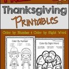 Free - Thanksgiving - Turkeys - Fall   Get ready for Thanksgiving with these cute color by number and color by sight words pages!  Check out the wh...