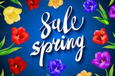 blue. Spring Sale colorful tulips by Rommeo79 on @creativemarket