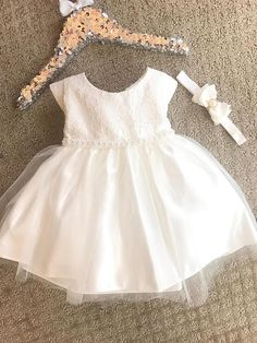 Vintage Baby Baptism Christening Dress with Lace Tulle Toddler