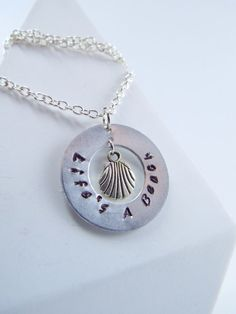 Hand Stamped Life's a Beach Washer Necklace by Kre8vStudioz