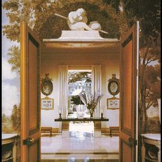 La Fiorentina, Saint Jean Cap Ferrat, part 49. View from the Dining Room, looking through the Second Hall, to the enclosed garden. This is a rarely seen look from the dining room (parts 21-23), across the second hallway (parts 15, 16) and to the charming garden with the rill (parts 19,20). This view, of course, is what guests saw when they exited the dining room. You will need your iPads or computers for this one. From the Sotheby's catalog, I believe. And sorry about the color – I think…