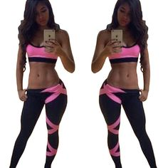 $7.99 - Women Floral Sport Suit Tank Top Vest & Trousers Legging Yoga Sportwear Set #ebay #Fashion